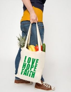 Baumwolltasche -LOVE HOPE FAITH-